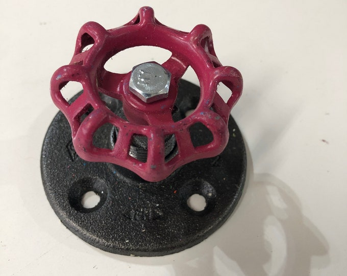 Industrial Pipe Wall Hook and/or Curtain Tie Back With Magenta color Faucet Handle