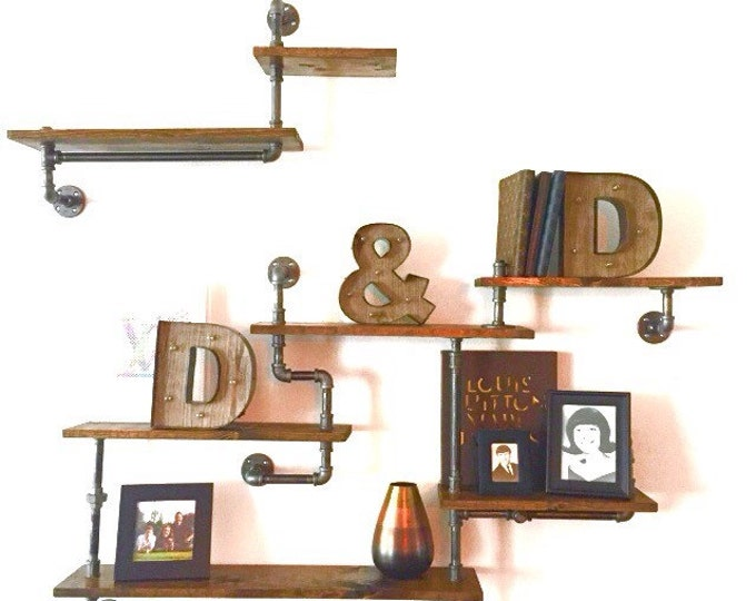 Industrial Urban Iron Pipe Seven Tier shelf Design (Pick your own stain)(Pick wood size 1x6 or 1x8)