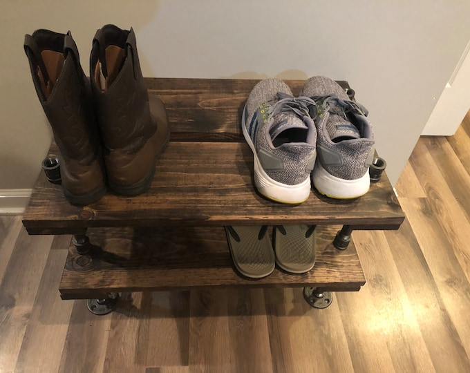 Extra Depth Industrial Shoe Rack, Shoe Storage, Shoe Rack, Entryway Shoe Organizer, Shoe Stand (3 different Sizes & Stain Options)