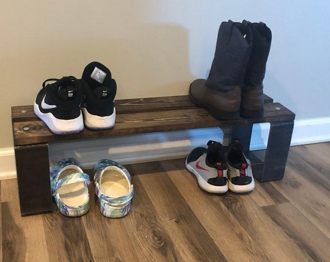 "8"" Depth Industrial Shoe Rack, Shoe Storage, Shoe Rack, Entryway Shoe Organizer, Shoe Stand (Stain Options)"