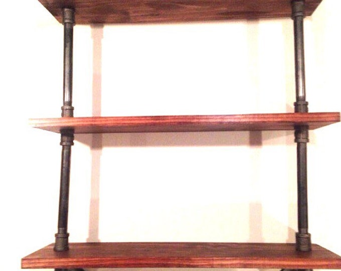 CUSTOMIZEABLE Industrial Iron Pipe Three Shelf (Pick your own stain) & (Pick your size wood)