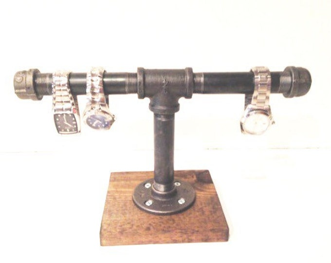 "Industrial 1/2"" or 3/4"" black pipe Jewerly Stand (Pick your own stain for the base)"