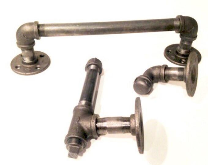 "Industrial bathroom set -- 1/2"" or 3/4"" black pipe with toilet paper holder, hook, and 14"" towel holder"