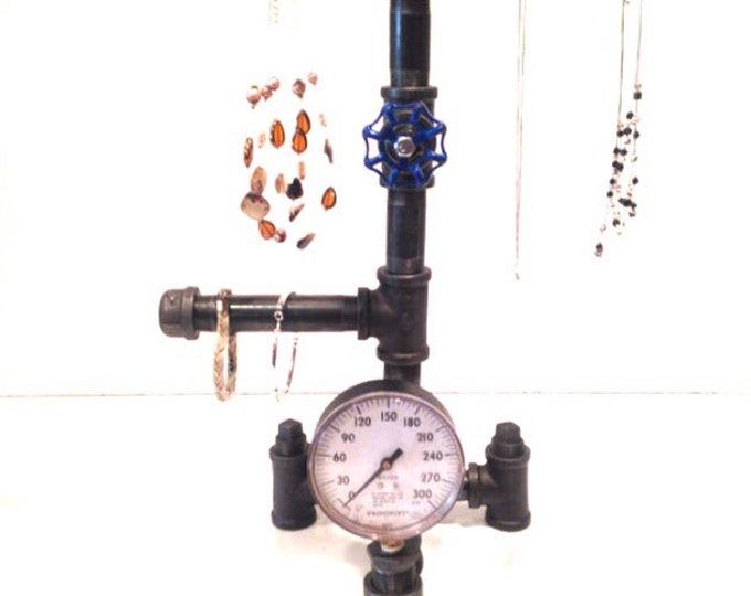 "Industrial 3/4"" pipe Jewelry stand with blue faucet handle Plus Gauge"
