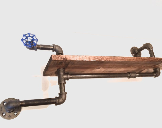 """Industrial Urban 24"""" Industrial Pipe shelf with blue handle (Pick your own stain)"""