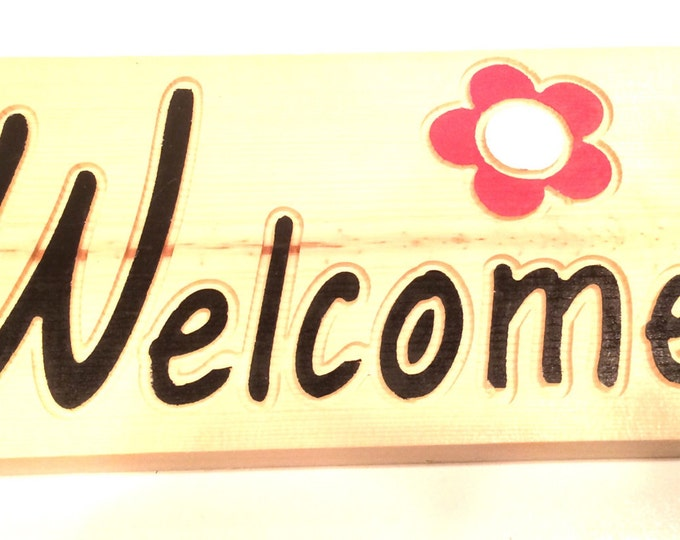 Welcome sign with flower (Carved and hand painted)