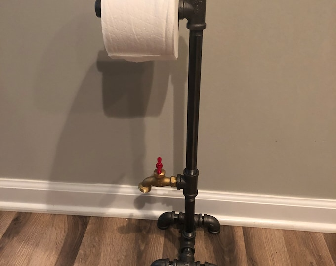 Industrial toilet paper stand with faucet