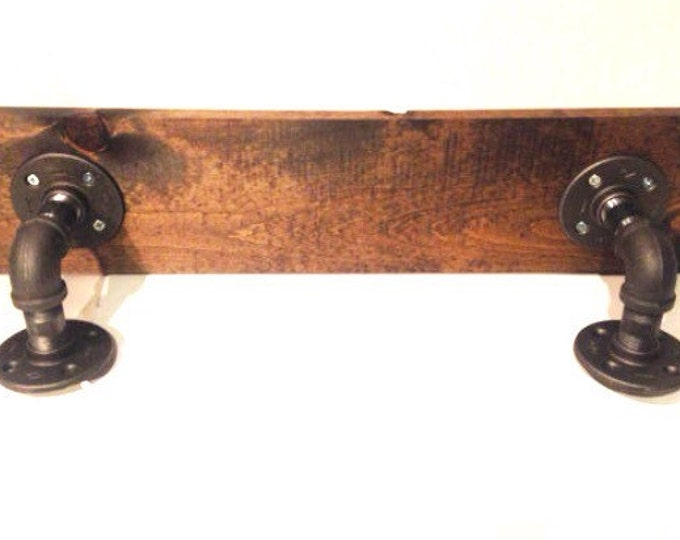 """Urban Industrial Shelf made with 3/4"""" Pipe and 1""""x8"""" Wood (Pick your own stain) & (Pick your size 12"""", 14"""", 16"""", 18"""",20"""",22"""", or 24"""")"""