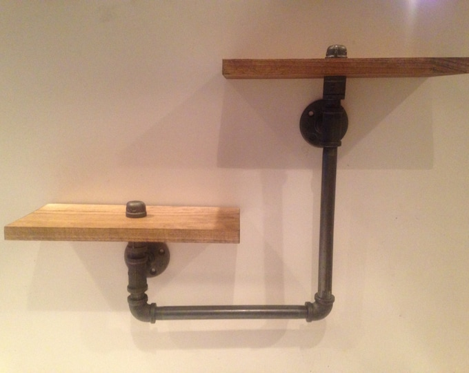 Industrial Iron Pipe Urban Two Tier shelves (Pick your own stain)