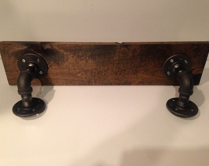 """Industrial Urban Shelf made with 1/2"""" Pipe and 1""""x8"""" Wood (Pick your own stain) & (Pick your size 12""""-40"""")"""
