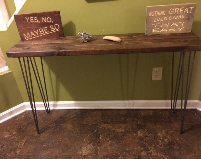 Modern Rustic  Entryway Table, Console Table, Sofa Table, Industrial Table with 3 Rod Hairpin Leg (Pick your own stain & Length)