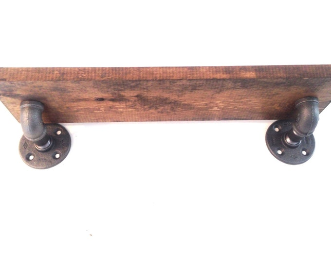 """Industrial Iron Pipe Shelf and 1""""x8"""" Wood (Pick your own stain) & (Pick your size 12"""", 14"""", 16"""", 18"""",20"""",22"""", or 24"""")"""