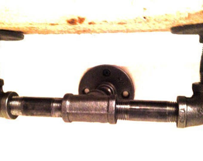 "Industrial black pipe shelf bracket (Pick 1/2"" or 3/4"" pipe)(Depth 3"", 4"", 5"" or 6"")"
