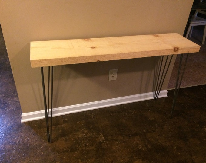 "Modern Rustic Entryway Table, Console Table, Sofa Table, Industrial Table with 3 Rod Hairpin Leg 2""x12""x48"" (Pick your own stain & Length)"