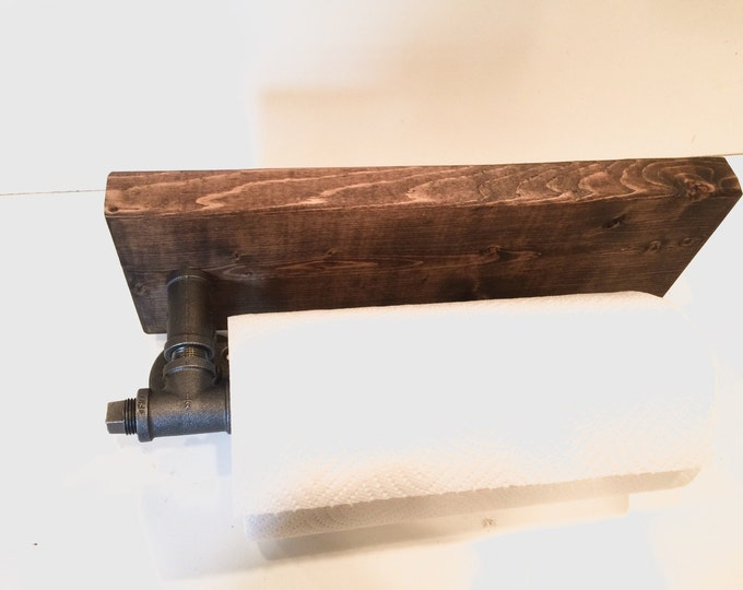 Industrial Rustic Urban Pipe Paper Towel Holder with Spice Rack (Pick your own stain)