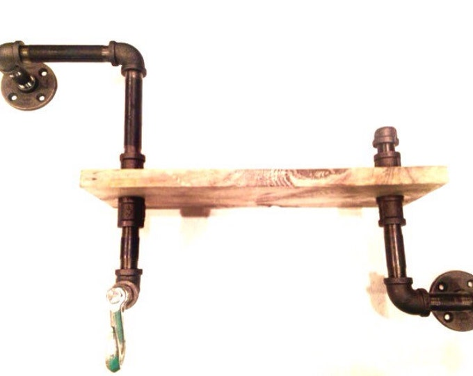 """Industrial Iron Pipe shelf with hook and 1""""X6"""" WOOD (Pick your own stain and length)"""