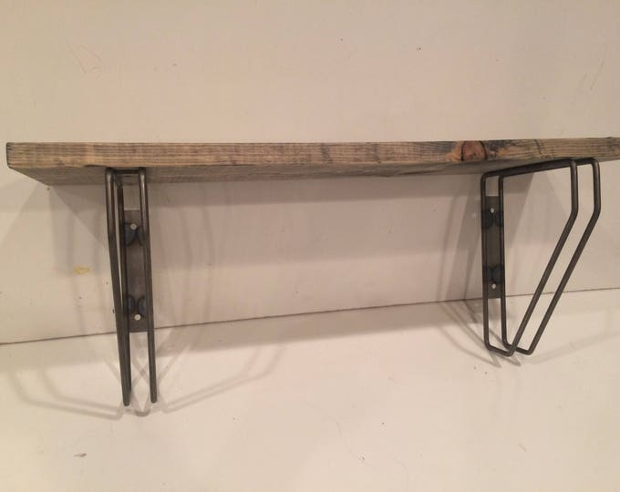 "Hairpin shelf With Two Different Ways of Hanging and 1""x10"" Wood (Pick your own stain) & (Pick your size 12"" -48"")"