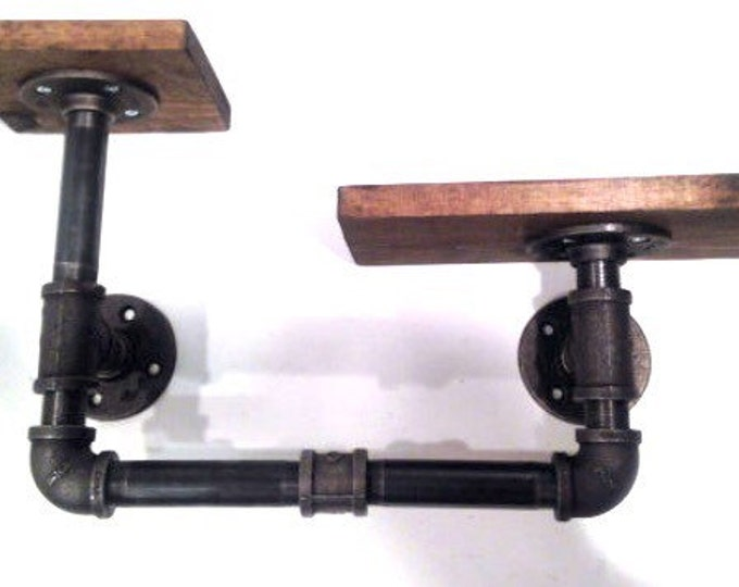 """Industrial Urban Iron Pipe Two Tier shelf 1""""x6"""" (Pick your own stain)"""