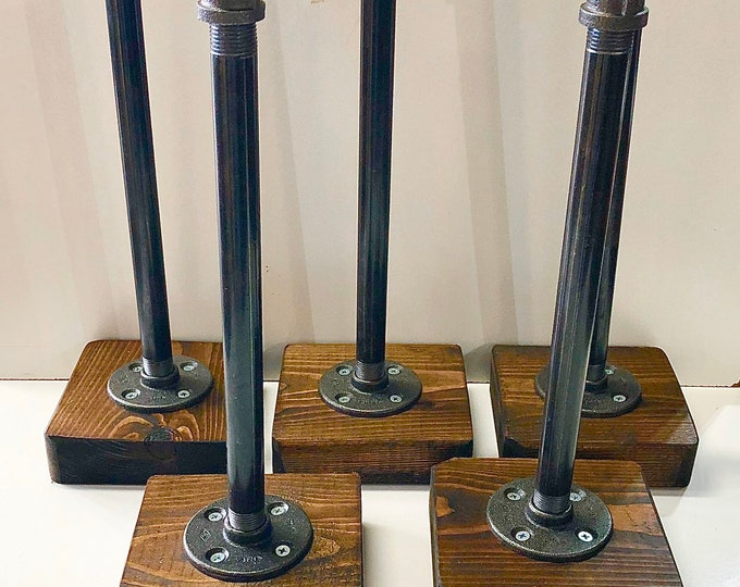 Five Industrial Rustic Urban Pipe Paper Towel Holder (Pick your own stain for the base)