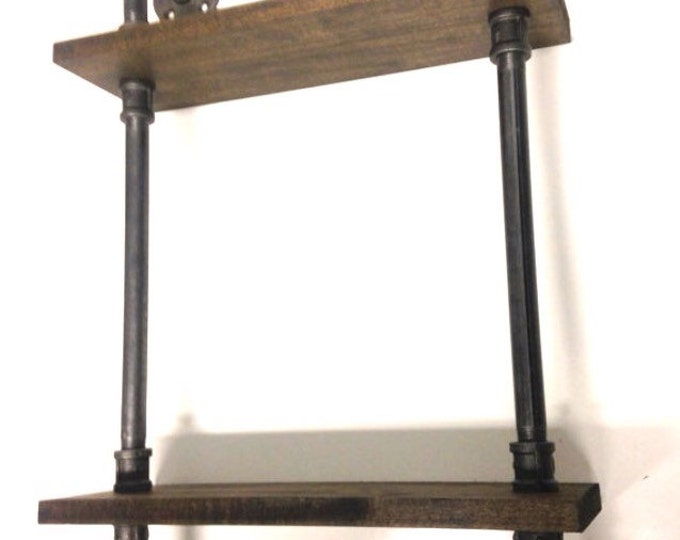 """Industrial 24"""" Iron Pipe Two Tier Spice Rack Pipe Shelf (Pick your own stain)"""