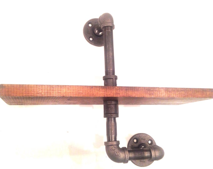 """Industrial Iron Pipe 16"""" shelf  (1""""X6"""" or 1""""x12"""")(Pick your own stain)"""