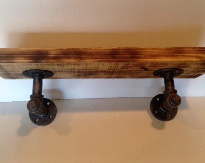 "24"" Industrial Iron Pipe shelf 1 1/2"" rough cut Poplar wood"