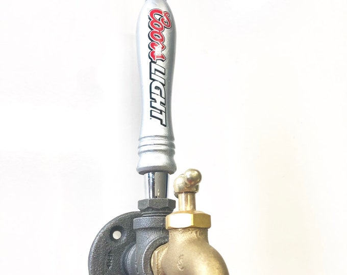 Industrial Pipe Wall Hook with Faucet Handle and Coors Light Beer Tap
