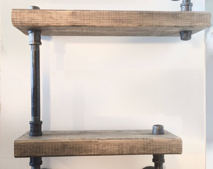 "Industrial Urban Pipe Two Tier shelf 2""x6"" (Pick your own stain)"