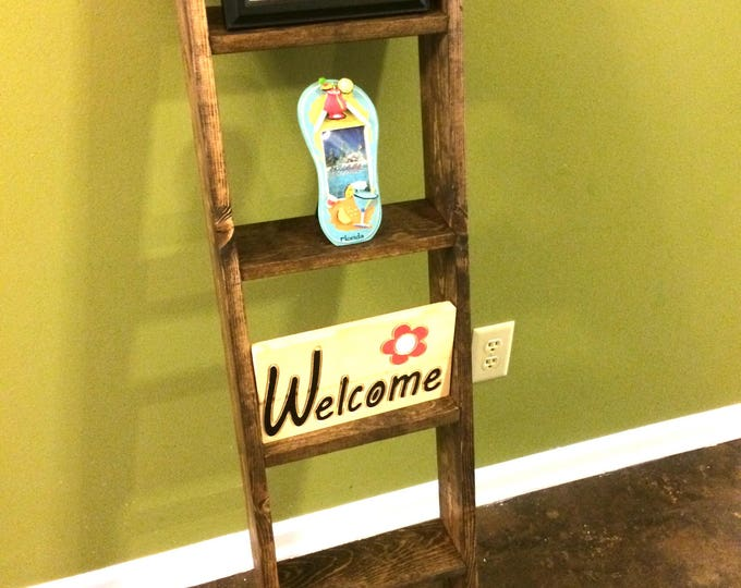 Rustic Wood Ladder - Wood Quilt Ladder - knick knack Ladder - Wall Ladder