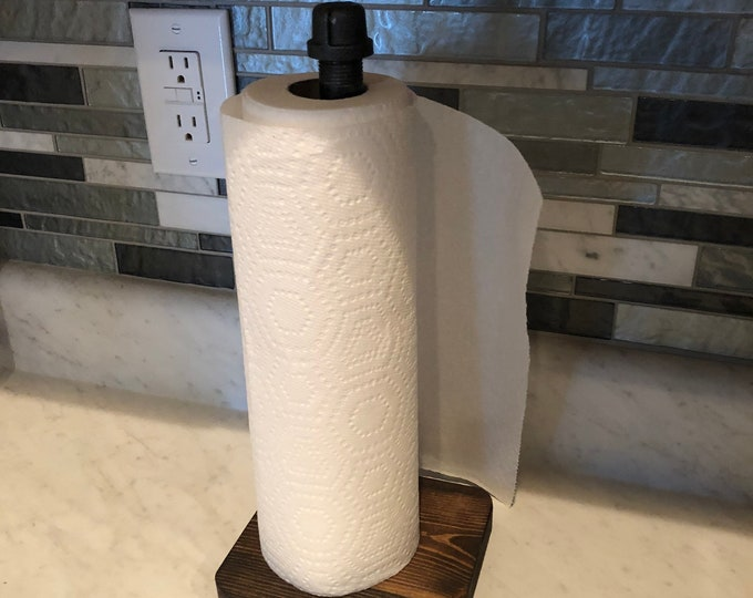 Industrial black pipe Paper Towel Holder (Pick your own stain for the base)