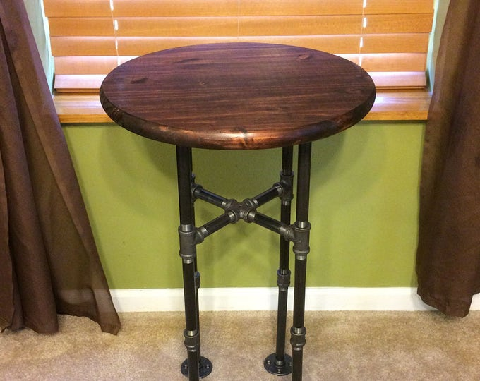 """Urban Industrial 18"""" or 24"""" Round Pipe table (PICK YOUR STAIN)"""