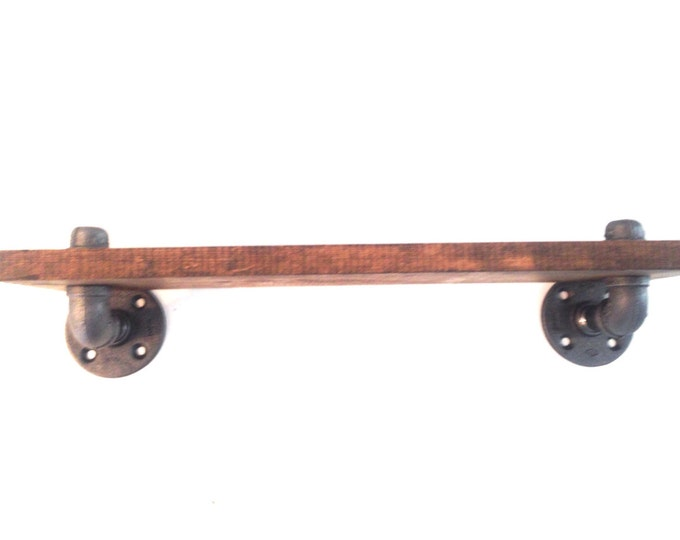 """Industrial Iron Pipe Shelf and 1""""x12"""" Wood (Pick your own stain) & (Pick your size 12"""", 14"""", 16"""", 18"""",20"""",22"""", or 24"""")"""