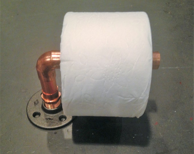 "Industrial 3/4"" Copper Pipe Toilet Paper Holder"