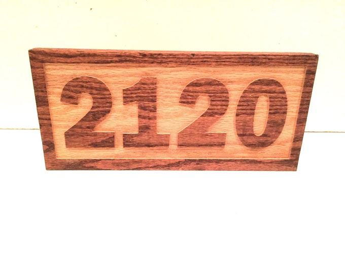 """Custom Address Sign made from Oak 1""""x6"""" (Carved and stain)"""