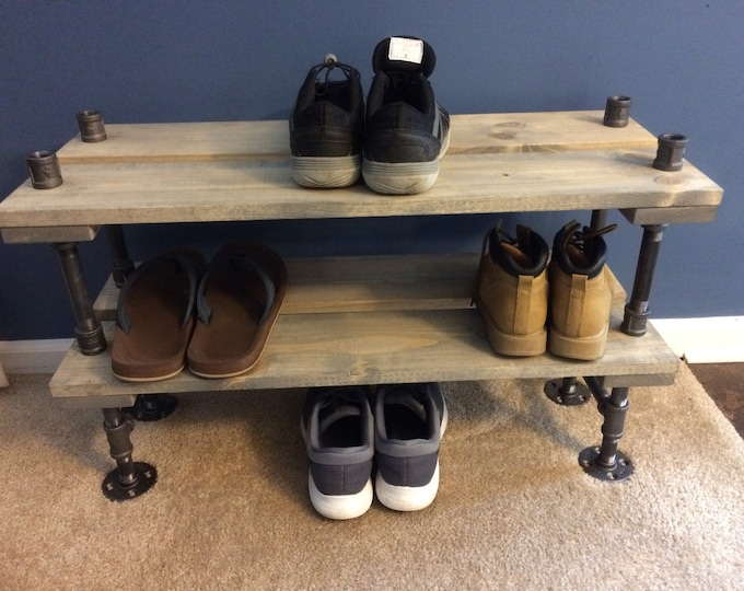 Industrial Shoe Rack, Shoe Storage, Shoe Rack, Entryway Shoe Organizer, Shoe Stand (3 different Sizes & Stain Options)