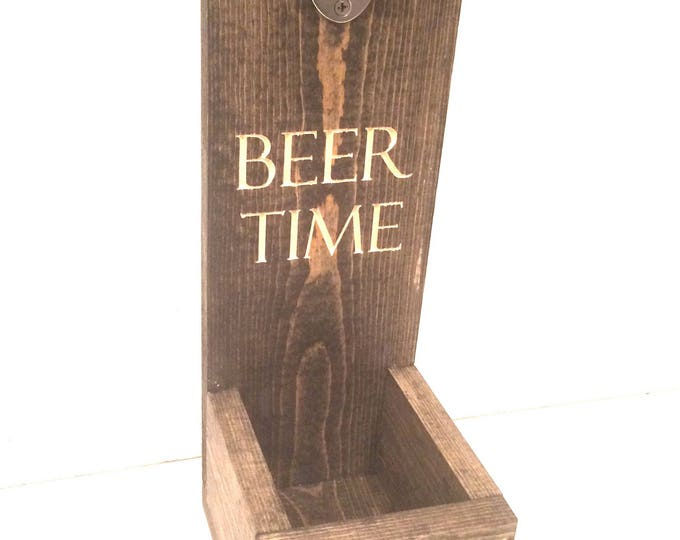 Rustic Wall Mount BEER Opener, Man Cave Sign, Bottle Opener Sign, Funny Sign, Beer Bottle Opener Personalized Sign Fathers Day Wedding