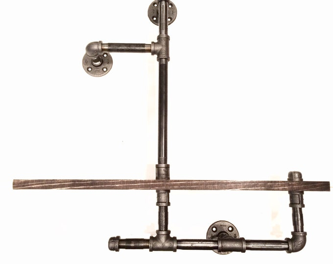 """Industrial Urban 24"""" Industrial Pipe shelf 1""""X6"""" WOOD (Pick your own stain)"""