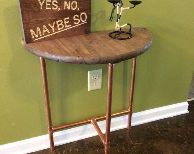 Modern Copper Sofa Table, Entryway Table, Console Table, Industrial Table (Pick your own stain & Height)