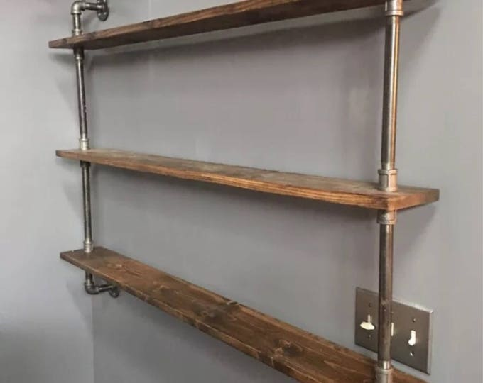 "60"" WIDE ((CUSTOMIZEABLE)) Industrial Iron Pipe Three Shelf (Pick your own stain)"