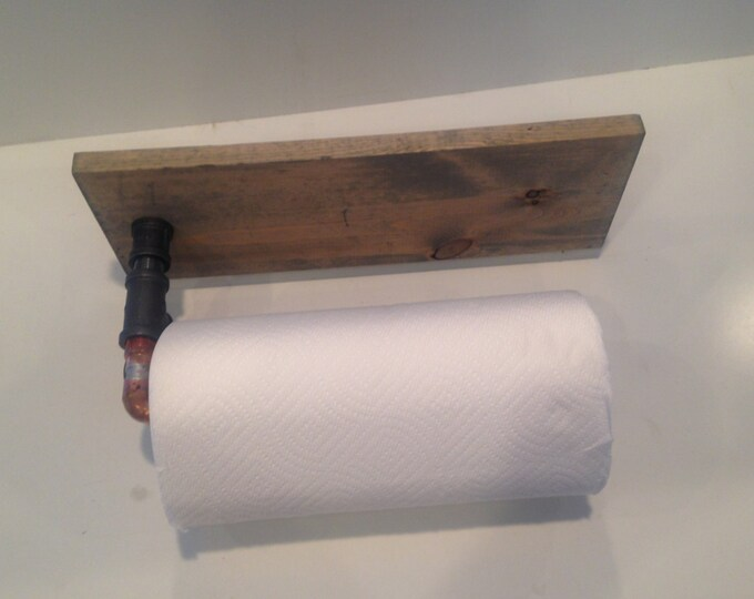 Copper paper towel holder with spice rack (Pick your own stain)
