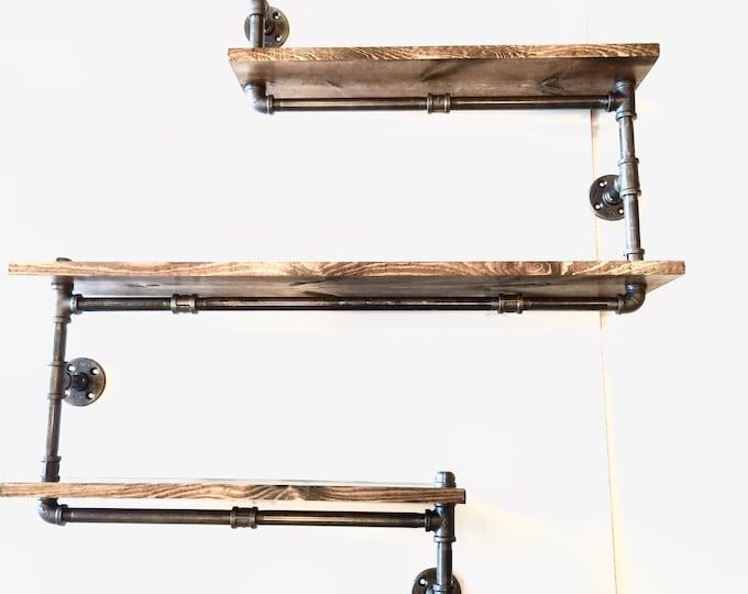 Big Industrial Rustic Urban Three Tier Iron Pipe Shelf (Pick your own stain)(1x6, 1x8, 1x10 or 1x12)