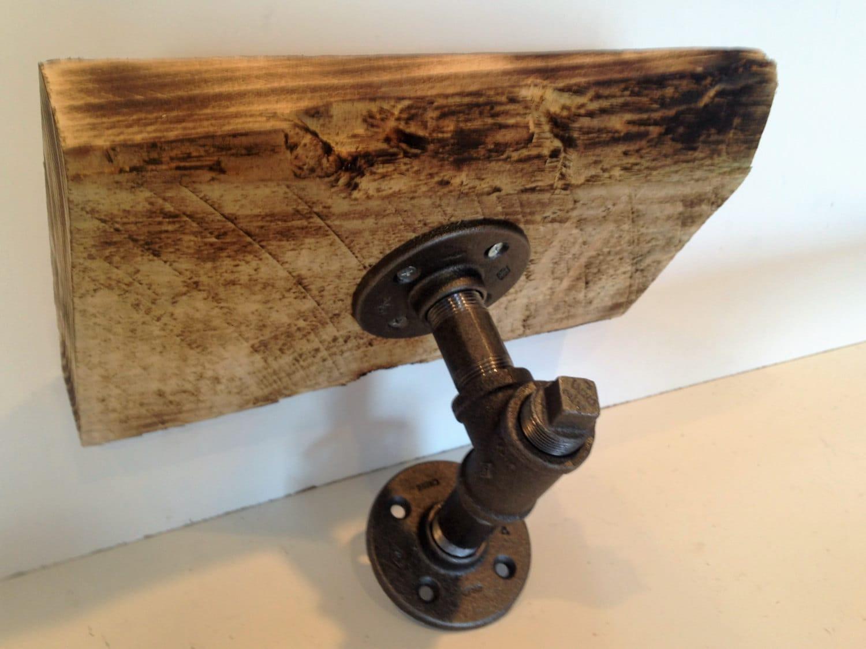 12 Industrial Iron Pipe shelf 1 1/2 rough cut Poplar wood