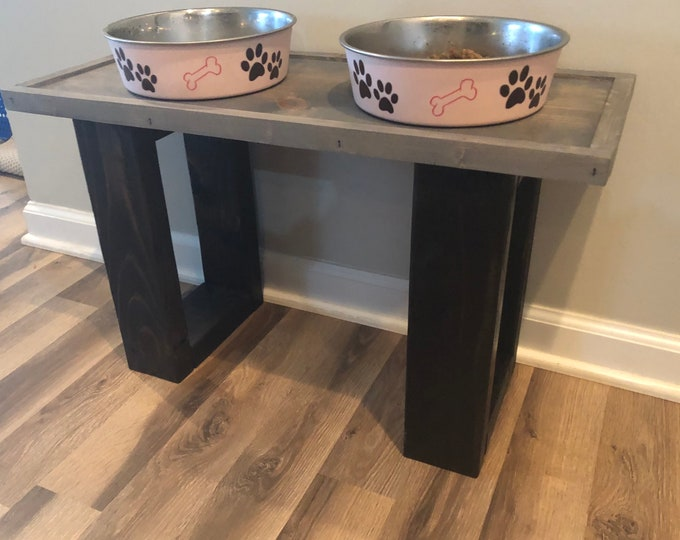 Farmhouse Dog Feeder (Different Sizes & Stain Options)