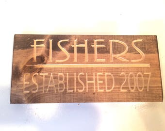 Your Last Name Established Your Year Sign (Carved)
