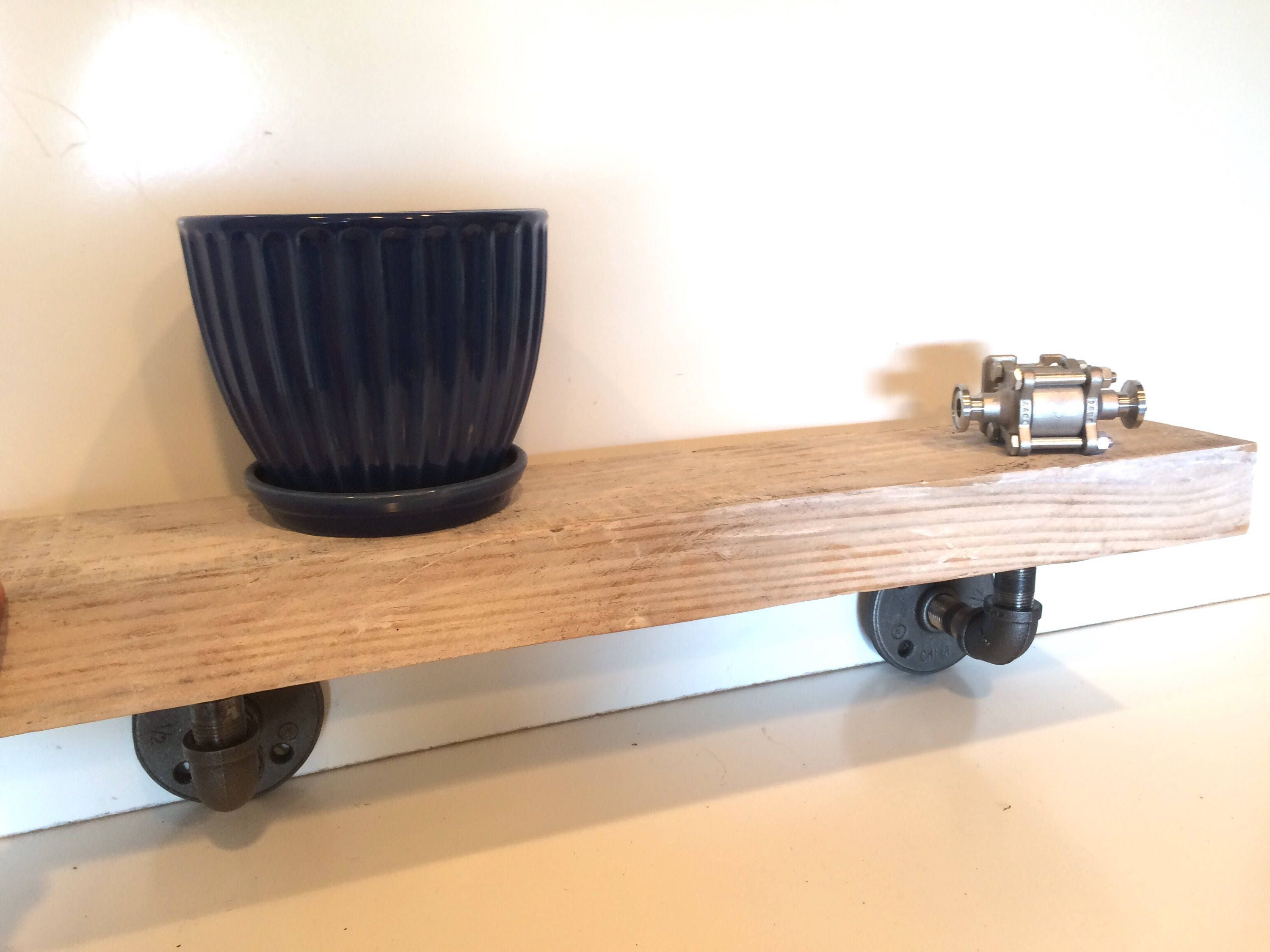 Outstanding White Washed Barn Wood Floating Shelf Industrial Kitchen Download Free Architecture Designs Grimeyleaguecom