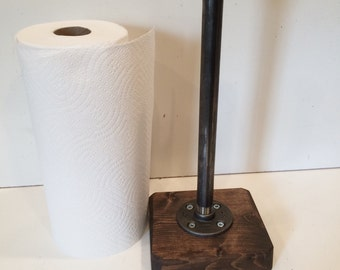 Industrial Rustic Urban Pipe Paper Towel Holder (Pick your own stain for the base)
