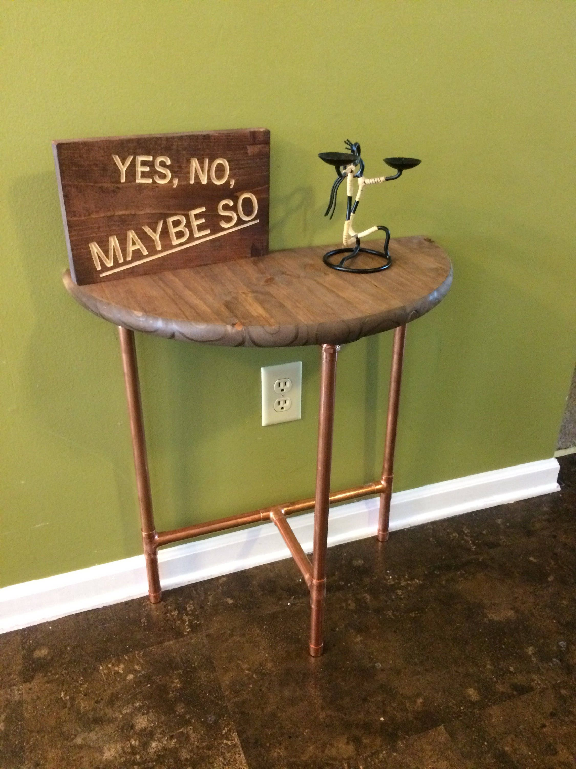 Modern Copper Sofa Table, Entryway Table, Console Table, Industrial Table  (Pick Your Own Stain U0026 Height)