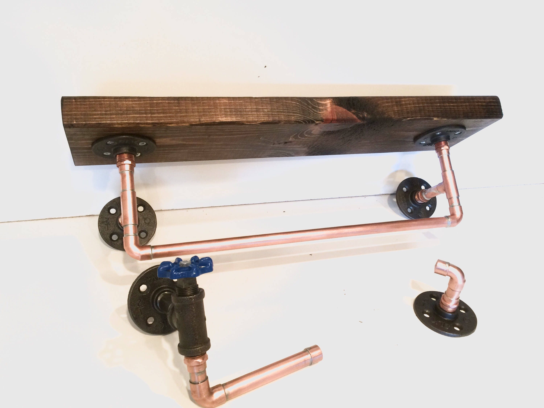 Copper Pipe Bathroom Set with shelf, towel rack, Toilet paper holder ...