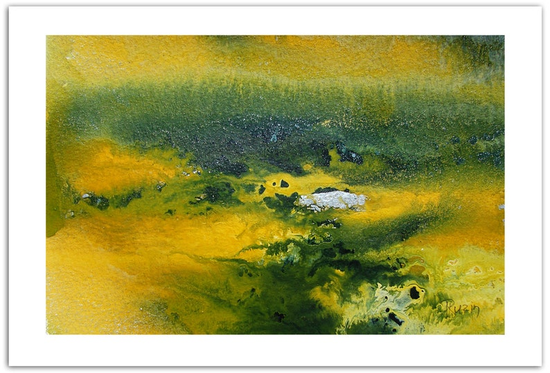 Green Yellow Harmony, Art Painting, Original Art, Abstract Landscape  Painting, Abstract Watercolor Painting, Watercolor Art, Wedding Gift