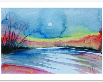 Colorful Abstract Original Painting, Art Painting Abstract Landscape Original Artwork, Living Room Decor Watercolor Painting, Christmas Gift